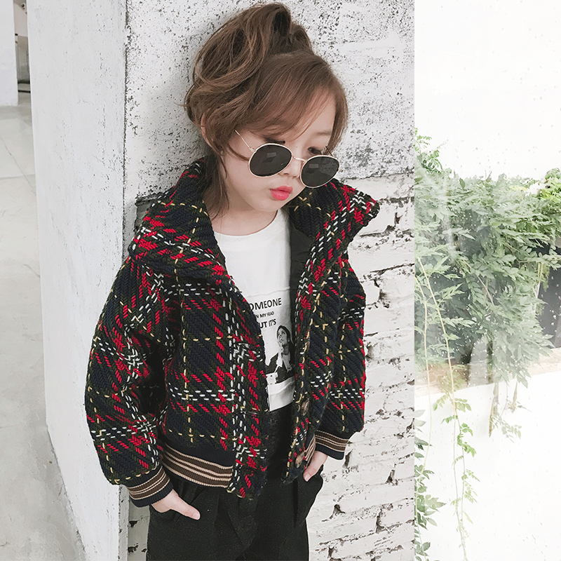 Girls coat 2018 autumn new girls children's plaid loose short paragraph lapel jacket tide манометр aquario pgss40r