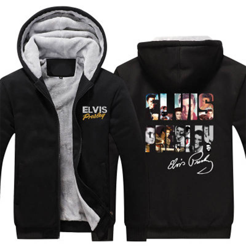 New For Men Hoodies Sweatshirts Autumn Winter Elvis Presley Warm Fleece Loose Casual Fleece Cardigan Hoodie US Size