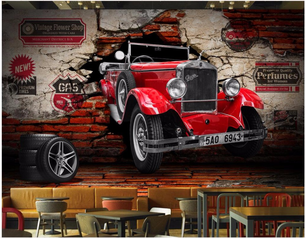 Custom mural 3d photo wallpaper Vintage car car broken wall ...
