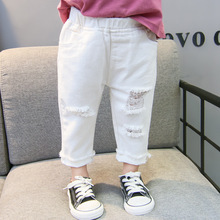 Spring Autumn Children Clothing Girls Boys Hole Jeans Casual Kids Boy Girls Pants Children Denim Pants Teenager Jeans Buttons cheap childhood lovely Straight Distrressed Light Drawstring Unisex Fits true to size take your normal size HWYS278 Solid white
