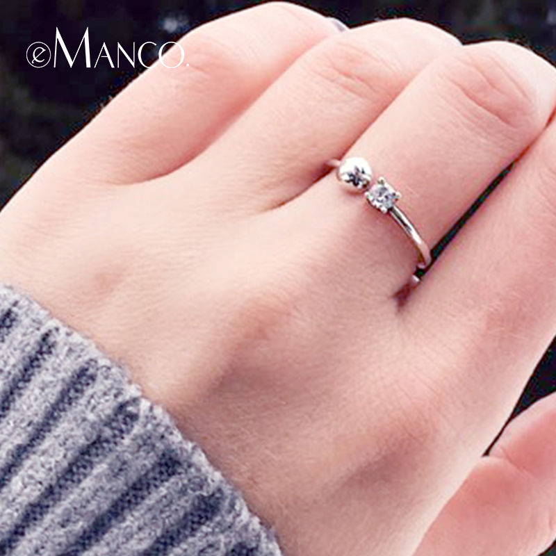E-Manco Ring Silver 925 Adjustable Rings Women Trendy Casual Style Costume Silver Jewelry Summer Collection