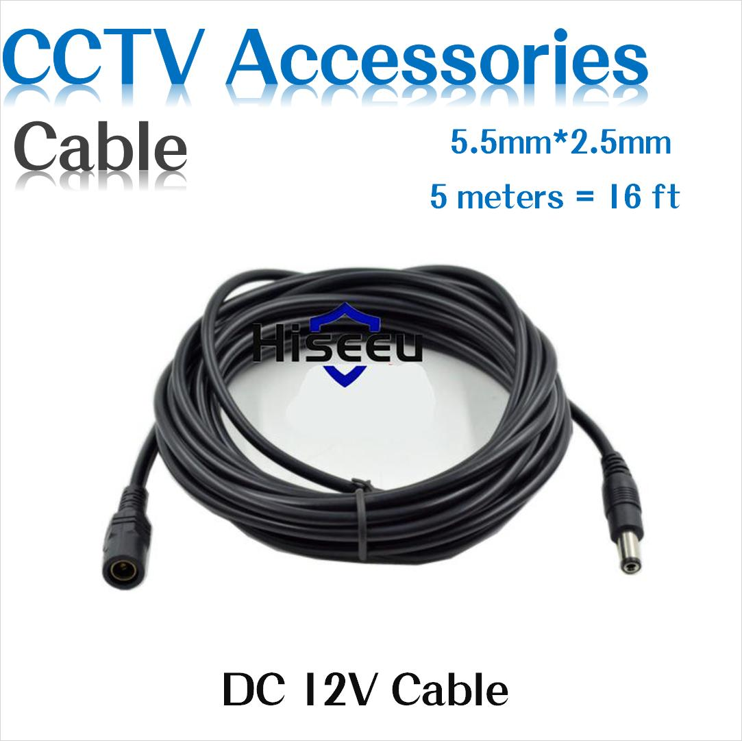 16.6FT 5M 5.5mm X 2.1mm 5.5/2.1mm 12V DC Male Female Extension Cable Cord For CCTV Camera & Router
