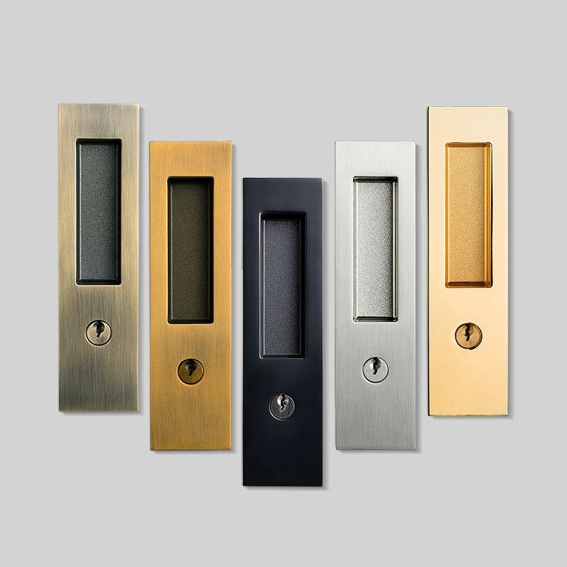 1 set/Sliding wooden  Door Lock Hidden Handle Interior Door Pull Lock Modern Anti-theft Room Wood Door Lock Furniture Hardware
