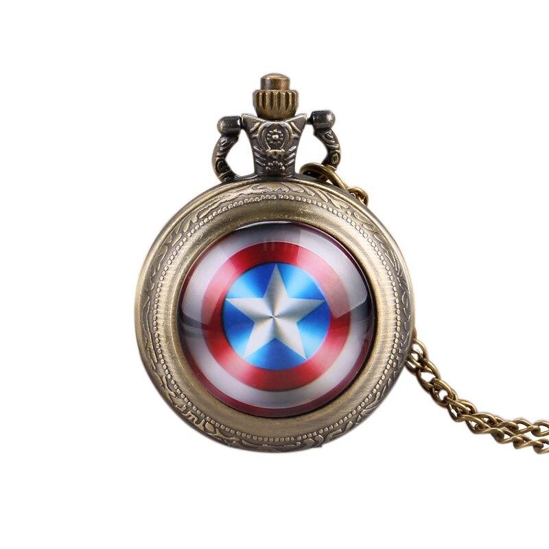 Captain America Shield Steampunk Quartz Pocket Watch Precision With Necklace Chain For Children Adults Clock Reloj De Bolsillo