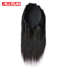 Allrun 12-22 inches Malaysian non Remy Hair Ponytail Clips-in Human Hair Extensions Horsetail Natural Straight Puffy Human Hair(China)