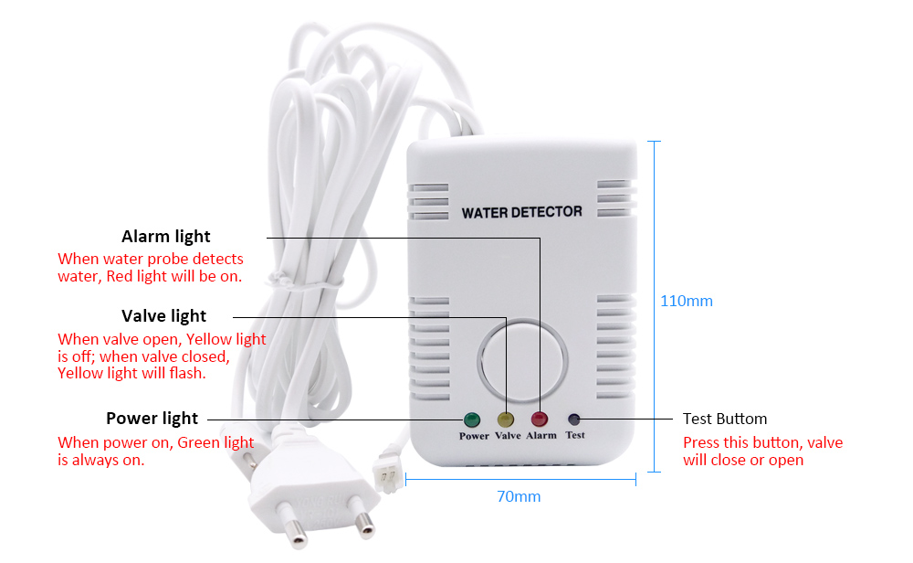 Alarme de vazamento de água detector de