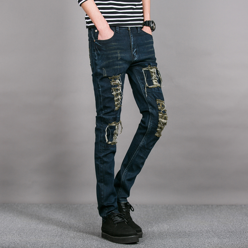 2017 Envmenst New mens jeans brand destroyed hole straight men's robin slim frayed denim true harem men - Men's Clothes Store store