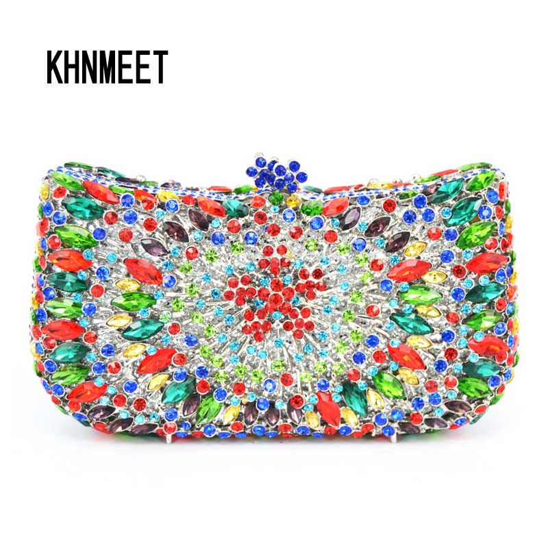 Factory colorful evening clutch bags luxury bridal diamante party clutch purse rhinestones Party Prom Dinner Bag handbags SC218