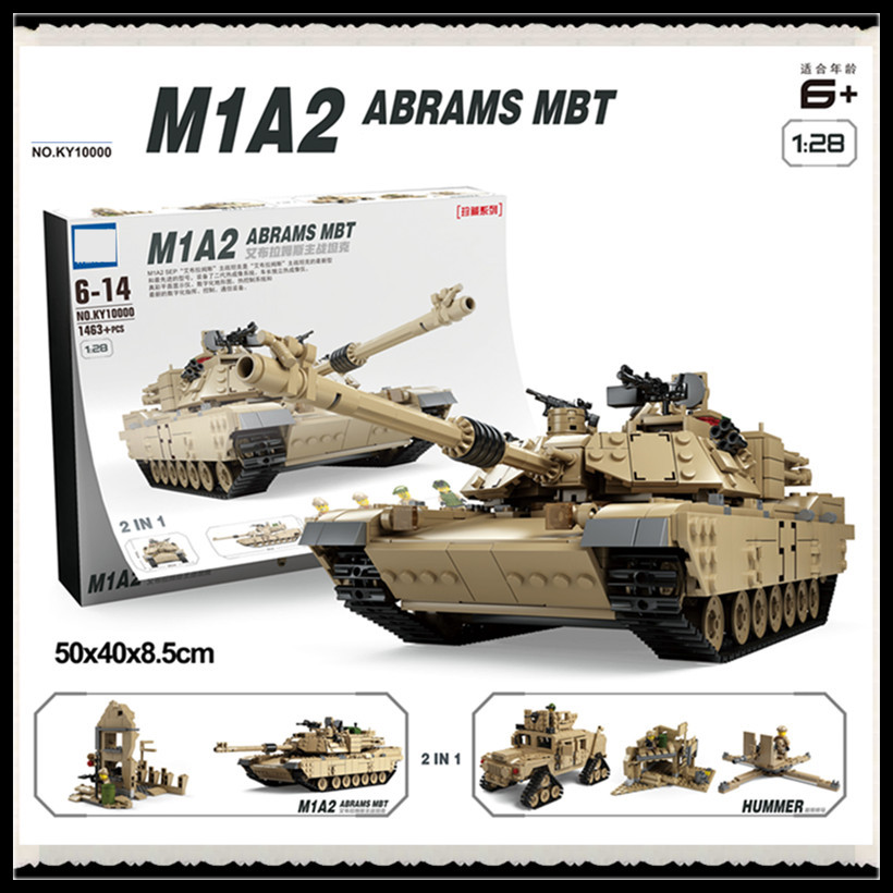 H&HXY FREE SHIPPING 1463pcs Military Theme Tank Building Blocks M1A2 ABRAMS MBT KY10000 1 Change 2 Toy Tank Models Toys 1643 pcs kazi tank building blocks blocks m1a2 abrams mbt ky10000 creative 1 change 2 tank toys compatible legoinglys gifts