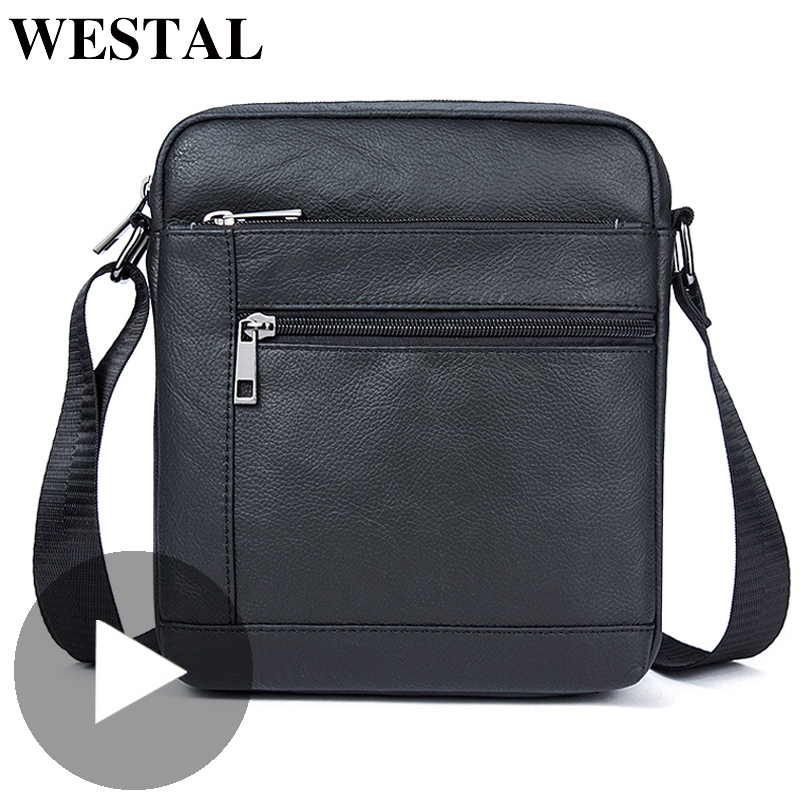Westal Small Shoulder Work Business Messenger Office Women Men Bag Genuine Leather Briefcase For Handbag Male Female Portable