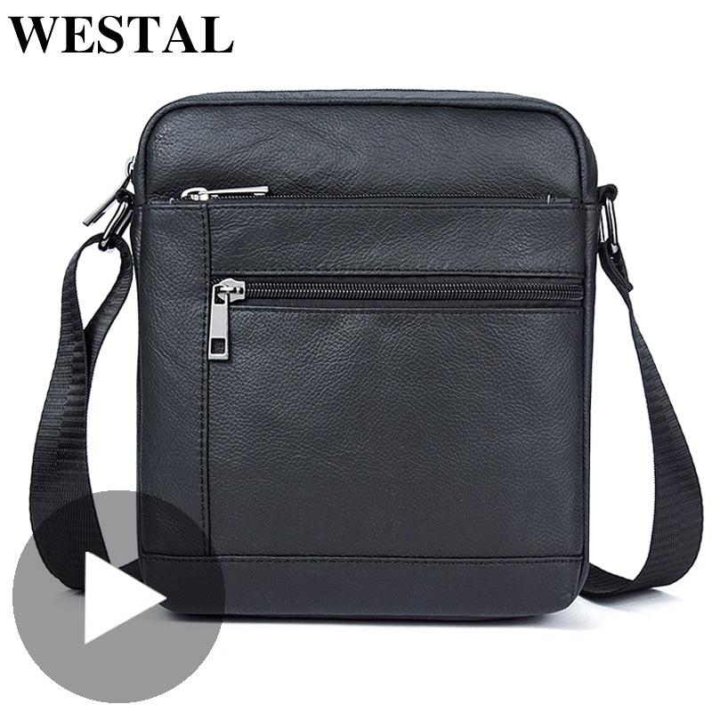 Westal Small Shoulder Work Business Messenger Office Women Men Bag Genuine Leather Briefcase For Handbag Male Female Portable