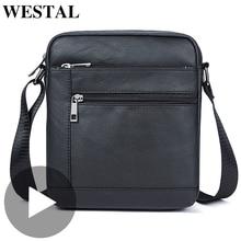 Westal Small Shoulder Work Business Messenger Office Women Men Bag Genuine Leather Briefcase For Handbag Male Female Portable недорого