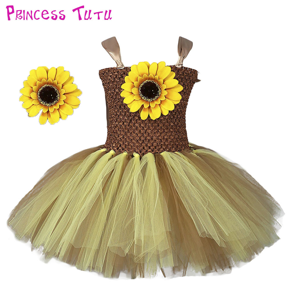 Pure Handmade Baby Sunflower Tutu Dress Solid Color Newborn Infant Toddler Birthday Photo Tutu Dresses Halloween Costume set
