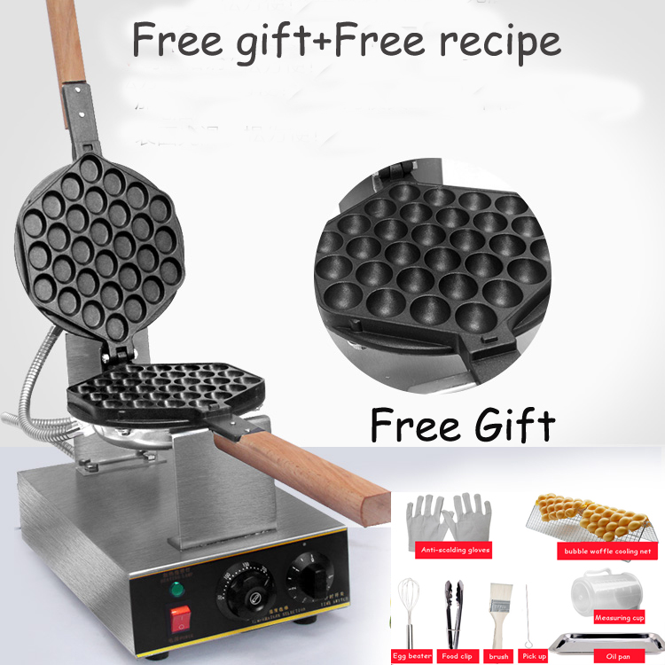 China directly factory price bubble waffle machine egg waffle machine HongKong eggettes bubble waffle maker directly factory price commercial electric double head egg waffle maker for round waffle and rectangle waffle