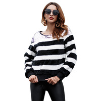 ZTVitality Autumn Winter Fashion Striped Patchwork Sweatshirts Womens 2018 Long Sleeve Hoodies Tops Blouse Crop Pullover