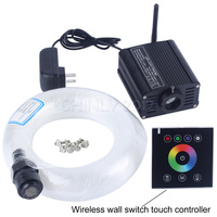 16W RGBW 2.4G wireless wall switch touch controller LED fibre optique light Star Ceiling Kit 300 strands 3m 0.75mm+1.0mm+1.5mm