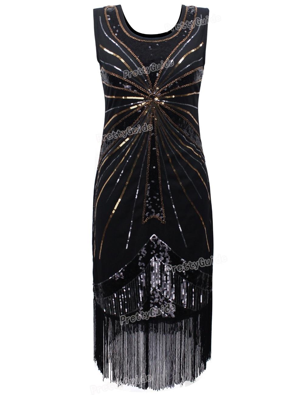 Prettyguide Women 1920s Vintage Beads Sequin Fireworks Fringe Fler Dress Party Roaring 20s Great Gatsby