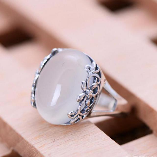 925 Sterling Silver Jewelry Inlaid Natural Stone Yellow White Jade Red Garnet Green Agate Rings For Women with Flower Pattern