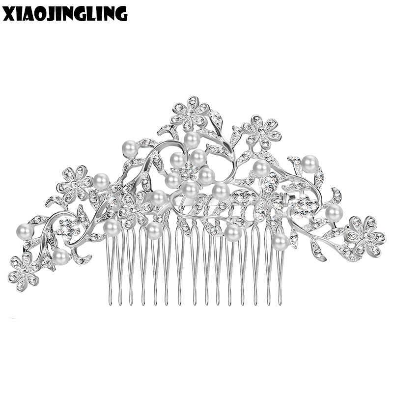 XIAOJINGLING Charm Flower Rhinestone Hair Slide Floral Bridal Head Piece Pearl Wedding Hair Comb Crystal Bridesmaid Hair Jewelry