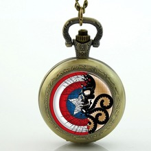 Captain America Pocket Watch necklase,The First Avenger Pocket Watch ,Artwork Jewerly, Cinema Pendant, Movies Jewelry