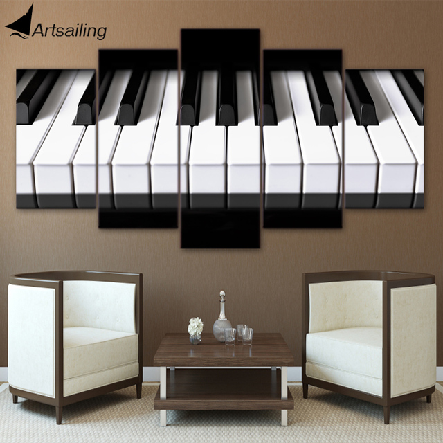 5 Pieces Canvas Art Piano Keys HD Printed Music Poster Painting Home Decor Wall Pictures