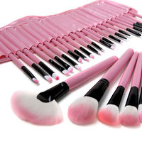 Professional Makeup Tools 32 Pcs Makeup Brushes Wooden Color With Leather Bag Cosmetics Make Up Kits