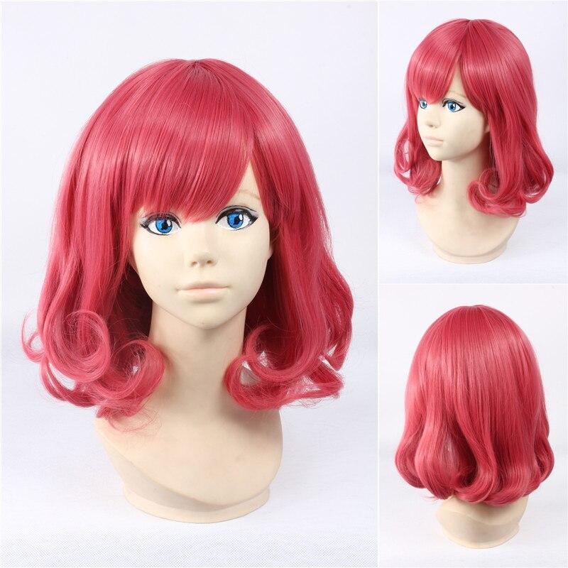 Anime Noragami Ebisu Kofuku Wig Rose Pink Short Curly ...