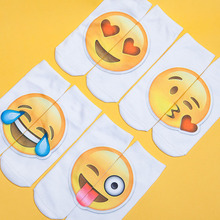 1 Pair Hot Sale 3D Emoji Printing Expression Women Socks Funny Low Ankle Short for Men Unisex Kawaii Gift