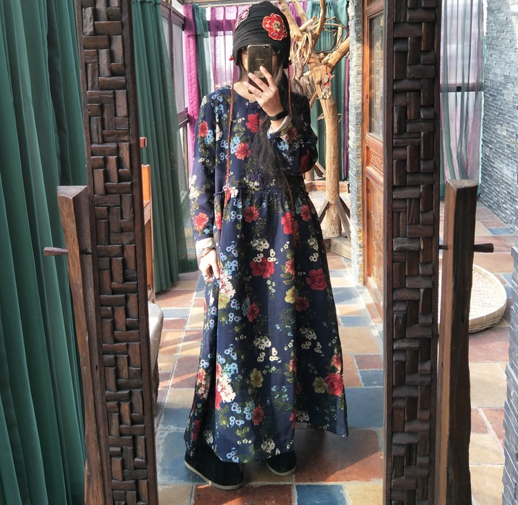 2018 Spring Women Loose Floral Printed Dress Ladies Retro Vintage Flower Print Dress Female Casual Dresses