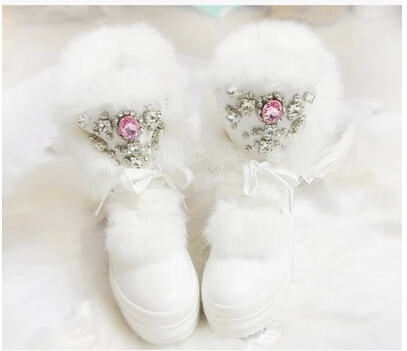 Real Rabbit Fur Winter Boots Girls Rhinestones Diamond Fashion Snow Boots Thick Warm High Top Women