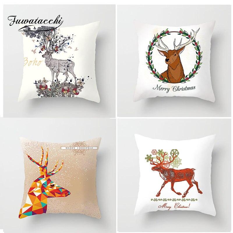Fuwatacchi Elk Cartoon Cushion Cover Christmas Decor Throw Pillow Style Pillowcase Decorative Pillows
