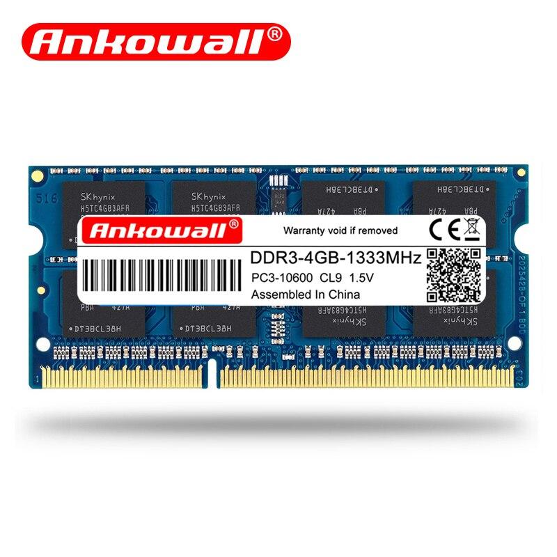 Memória 204pin do caderno da memória 204pin 1600/1333 v-garantia da vida de SO-DIMM v do portátil de ankowall ram ddr3 2 gb 4 gb 8 gb 1.35 mhz 1.5 ddr 3
