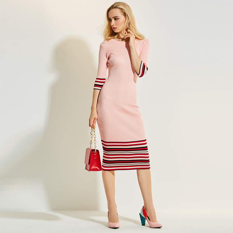 Knitted Fabrics Dress women elegant bodycon Autumn dresses Long Slim Twist Knitted Sweater Dress Winter Striped Long Dress