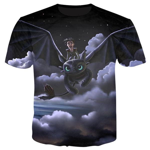 How to Train Your Dragon 3d Tshirt Men Anime Toothless Print T shirt Cartoon