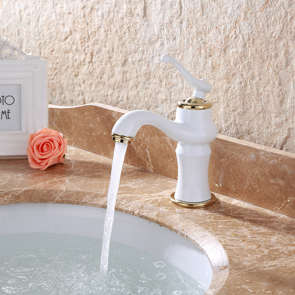 Bathroom faucet basin sink faucets sitting hot cold water White single handle bathroom faucet
