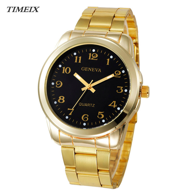 Geneva Watch 2017 Luxury Women Men Simple Stainless Steel Analog Quartz Watch Fashion Wrist Watch Clock Watches,Mar 28*60 hot luxury brand geneva fashion men women ladies watches gold stailess steel numerals analog quartz wrist watch for men women