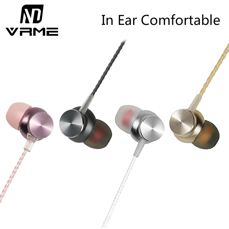 Vrme V7 Metal Earphones Super Bass Headphones Dynamic Earphone Music Headset with Microphone Volume Control Gift Pack for Xiaomi 2016 new universal adjustable headphones earphones with volume control for mp3 mp4 computer gamer supper bass earphone