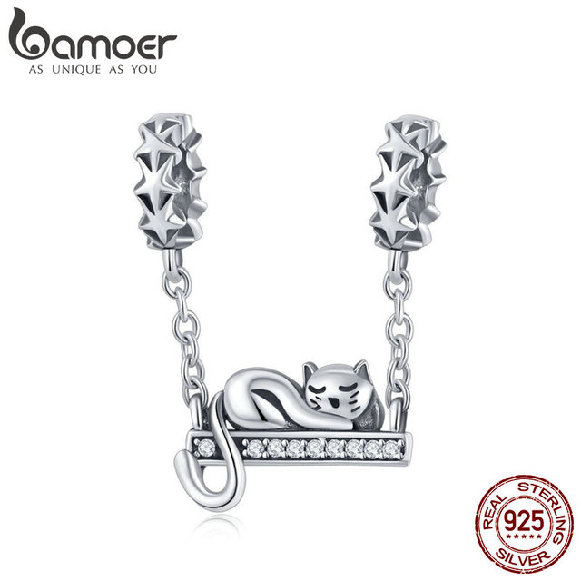 BAMOER 925 Sterling Silver Adorable Cat Star Charms Star Pave Charm Fit Bracelet