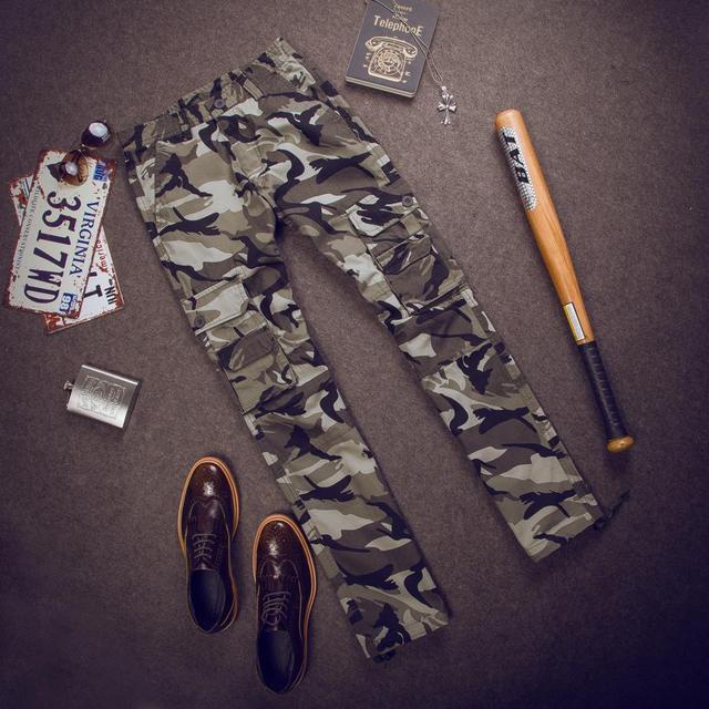 Осень 2016 новый мужской одежды мода повседневная прямые мульти-карман камуфляж военная свободные XL Брюки-Карго