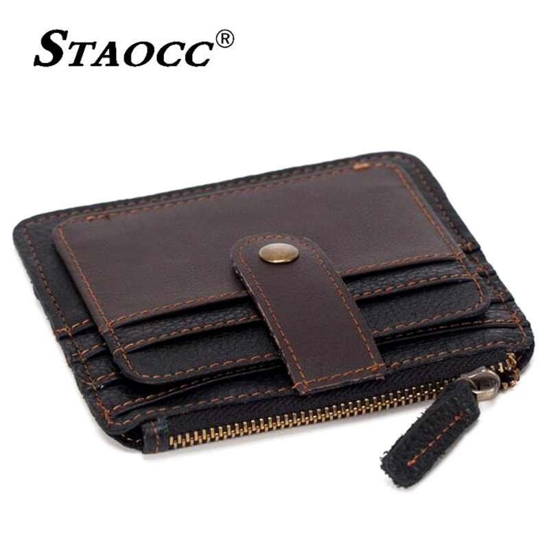 a27c0cea62 Women Genuine Leather Wallet Small Purse Men Business ID Credit Card Holder  Coin Purse Female Driver License Mini Thin Wallet
