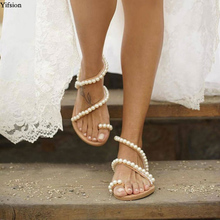 Olomm New Fashion Women Flat With Gladiator Sandals Sexy Pearls Sandals Open Toe Yellow Party Shoes Women US Plus Size 5-10.5 original intention new fashion women sandals popular open toe flat with heels sandals elegant gold shoes woman plus us size 4 15