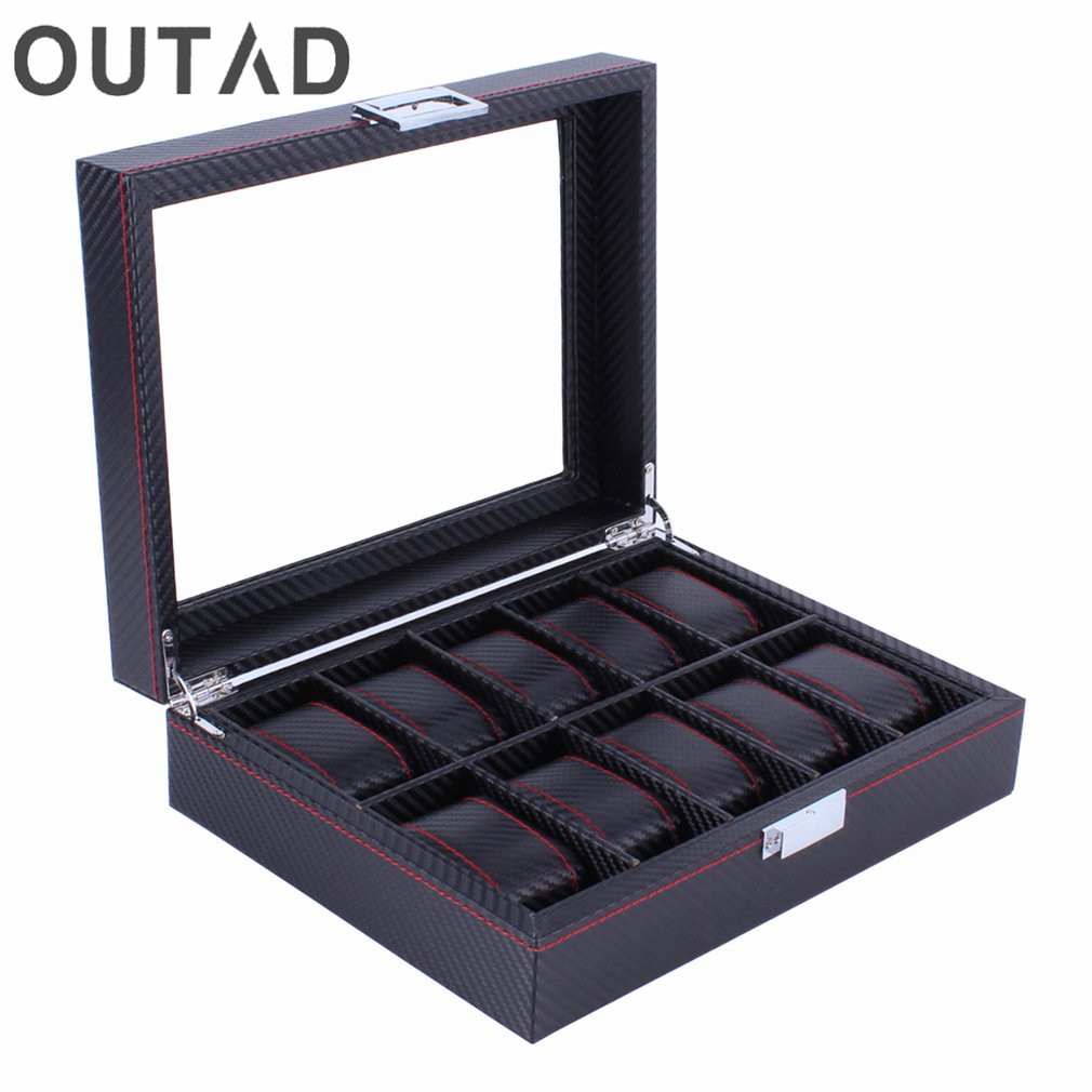 OUTAD Wooden Watch Box Carbon Fibre Modern 10 Grids Pattern Watches Storage Display Slot Case Organizer Winder Gift For Friends
