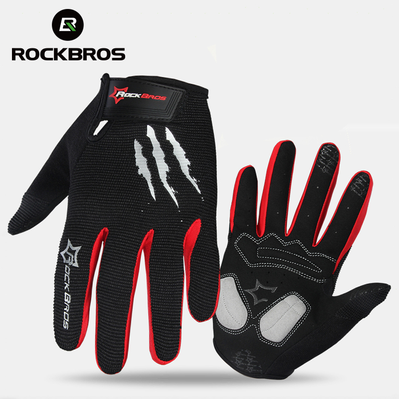 ROCKBROS Ciclismo Guanti di Spugna Pad Lungo Finger Gloves Moto Bicicletta Mountain Bike Glove Touch Screen Guanti MTB