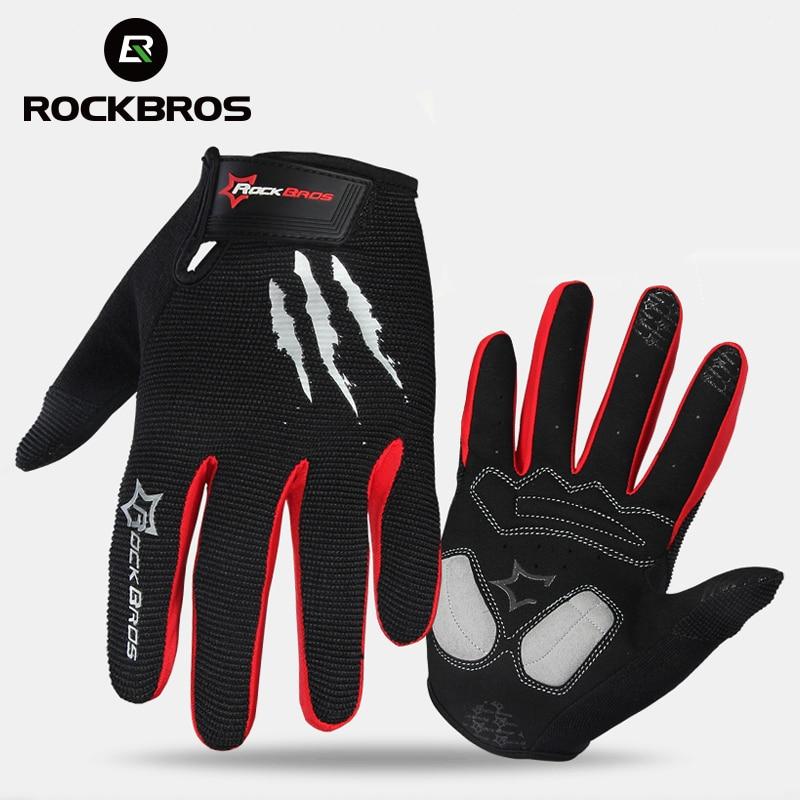Prix pour RockBros Vélo Gants Éponge Pad Long Doigt Moto Gants Pour Vélo Vtt Gant Tactile Écran VTT Gants