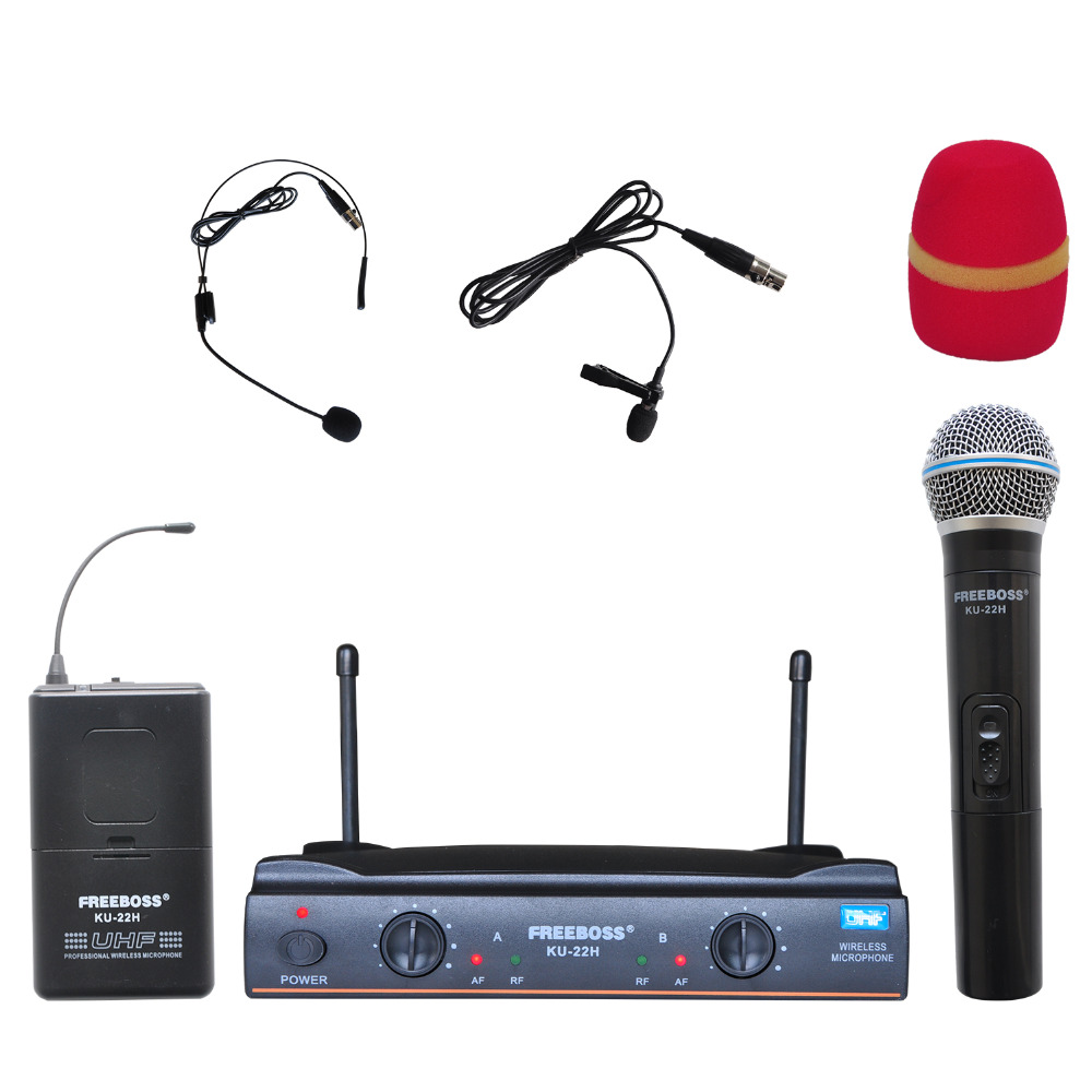 Freeboss KU-22H UHF Dual Channel Mic Transmitter Professional Karaoke Wireless Headset + Lapel + Handheld Microphone freeboss m 2280 50m distance 2 channel headset mic system karaoke party church uhf wireless microphones