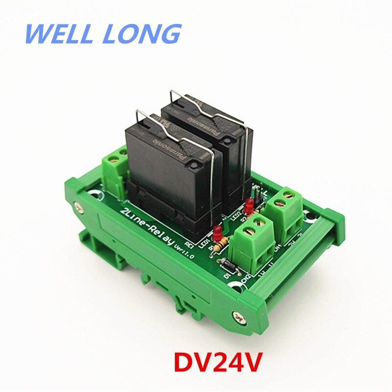 DIN Rail Mount 2 DPDT 5A Power Relay Interface Module, JW2SN-DC24V Relay.DIN Rail Mount 2 DPDT 5A Power Relay Interface Module, JW2SN-DC24V Relay.