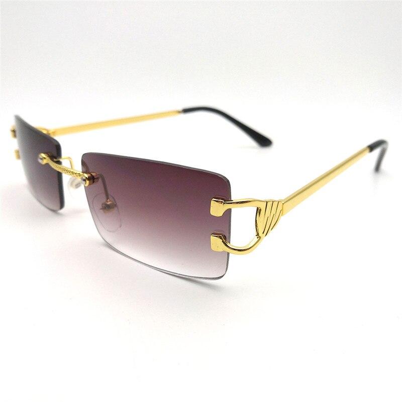SOL DE ORO Men And Women Double Temple Sunglasses UV400 Protection Rectangular Frameless Sunglasse