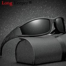 Longo keeper óculos de sol polarizados dos homens condução espelhos pontos revestimento preto quadro óculos de sol masculino uv400 gafas de sol