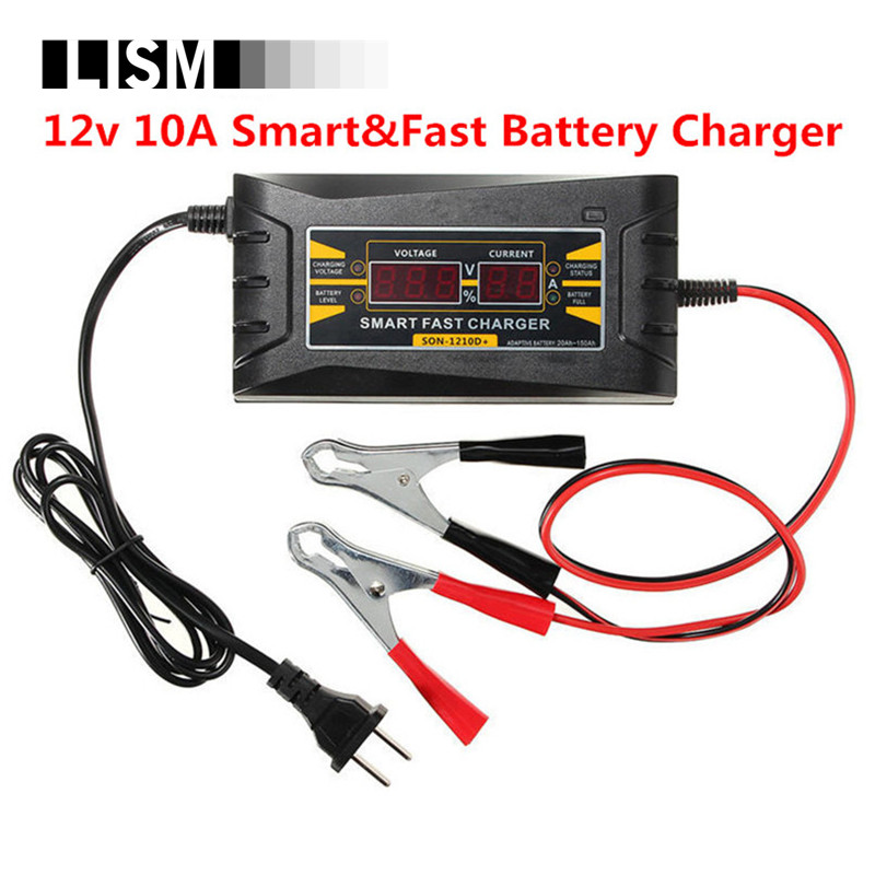 Intelligent Car Battery Charger 12v 10A 20-150AH Automatic Smart Fast Battery Charger LCD Display Souer Charger for Car Battery 12v 20a led display car battery charger 110 240v intelligent automobile car battery charger vehicle battery charger
