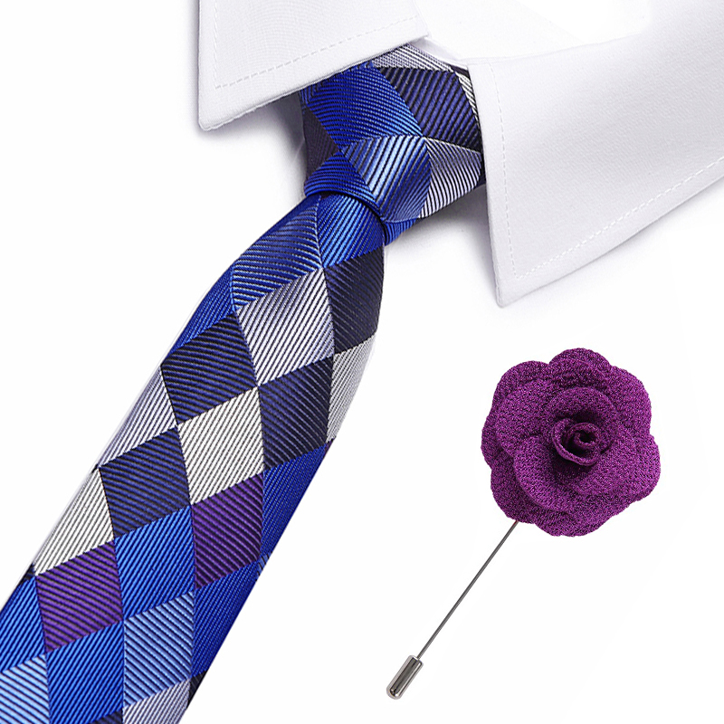 Geometric Plaid Ties Men's Fashion Tie 8cm Blue Necktie Blue &purple Color Neck Tie For Men Business Suit Accessories Tie&brooch